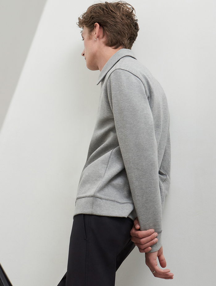 Men's zip-up sweatshirt and fall transitional knits.