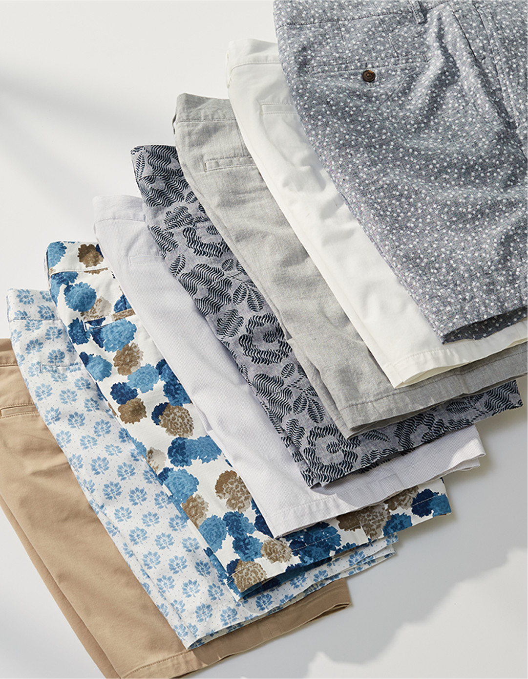 A stack of patterned shorts.